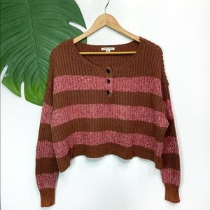American Eagle Knit Oversized Crop Henley Sweater